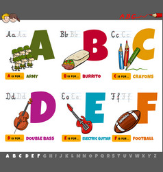 educational cartoon alphabet letters for children vector image