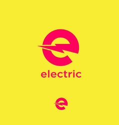 Electric logo letter e with lightning vector