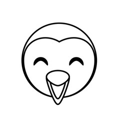 Face penguin animal outline vector