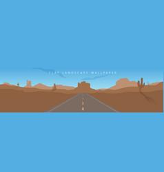flat arizona landscape mountain desert background vector image