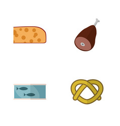 Flat icon food set of meat cheddar slice cookie vector