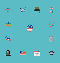 Flat icons decoration memorial day awareness and vector