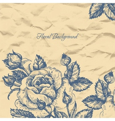 Floral background with crushed paper vector
