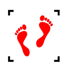 Foot prints sign red icon inside black vector