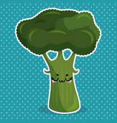 fresh broccoli vegetable kawaii character vector image