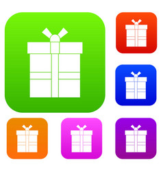 gift box with ribbon set color collection vector image