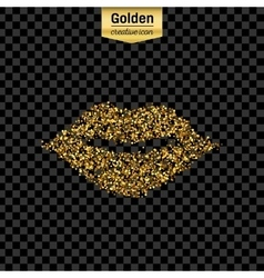 Gold glitter icon of mouth isolated on vector image