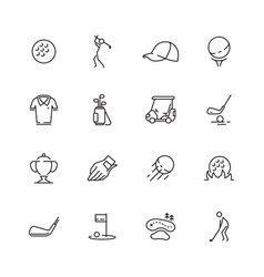 golf icons sport symbols golf club ball sticks vector image