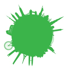 green round cityscape vector image