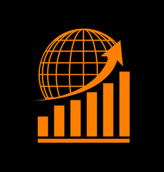 growing graph with earth orange icon on black vector image vector image