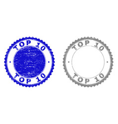 Grunge top 10 scratched watermarks vector