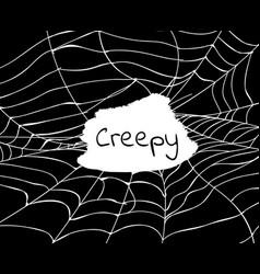 Halloween backdrop with creepy cobweb vector