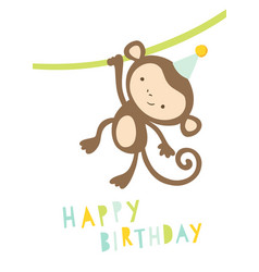 Happy birthday card with cute monkey in a party vector