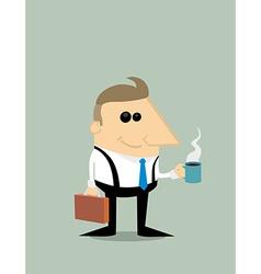 Happy Cartoon businessman with coffee vector image