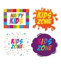 happy kids zone labels vector image