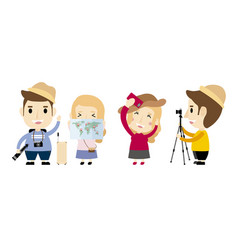 happy people traveling on white background vector image