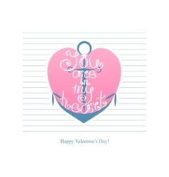 Happy valentines day anchor with inscription vector