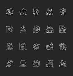 Housekeeping chalk white icons set on black vector