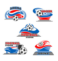 icons soccer or football arena stadium vector image