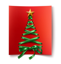 lace-up christmas tree made of laces vector image