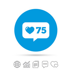 Like counter icon notification speech bubble vector