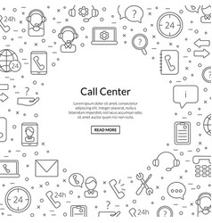 line call support center icons background vector image