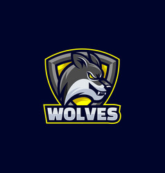 logo wolves e-sport and sport style vector image