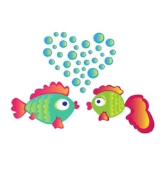 Love fishes on white background vector image