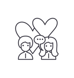 love relationship line icon concept love vector image
