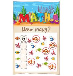 math counting fish worksheet vector image