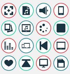 media icons set with loudspeaker gallery gadget vector image