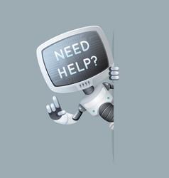 Monitor head robot look out corner online help vector