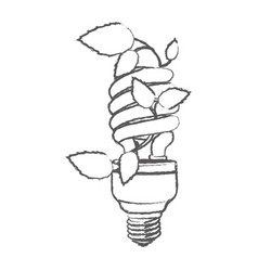 Monochrome sketch with spiral fluorescent bulb vector