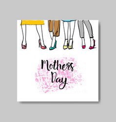mother day greeting card or invitation with hand vector image