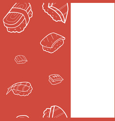 nagiri sushi seamless pattern doodle set vector image