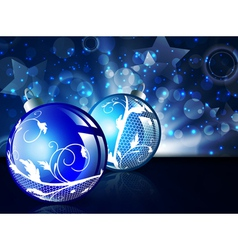 New year blue decorated balls vector