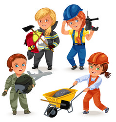 Not female professions strong woman builders in vector