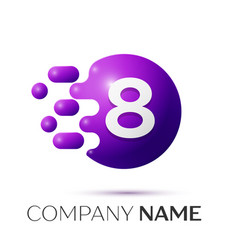 Number eight splash logo purple dots and bubbles vector