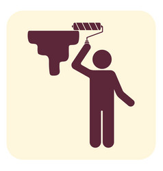 Painter with paint roller icon vector