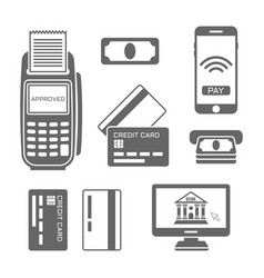 Paymants and banking black icons vector
