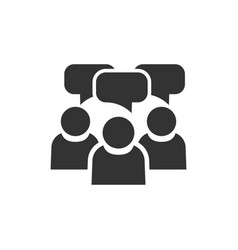 people with speech bubble icon in flat style vector image
