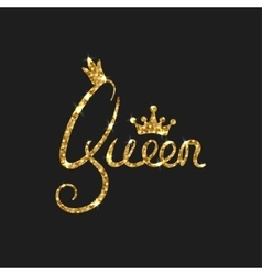 Queen golden text for card Modern brush vector image