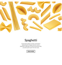 realistic pasta types banner background vector image