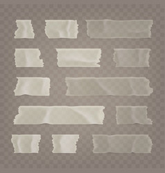 realistic transparent adhesive tape set sticky vector image