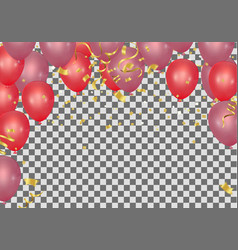 red balloons and confetti party background vector image