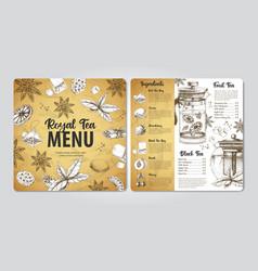 restaurant royal tea menu design vector image