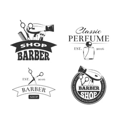 Retro barber shop label set vector