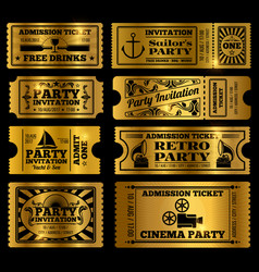 retro party cinema invitation tickets set vector image