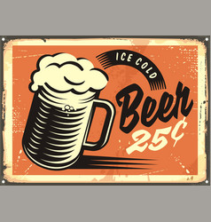 Retro style advertisement with ice cold beer mug vector