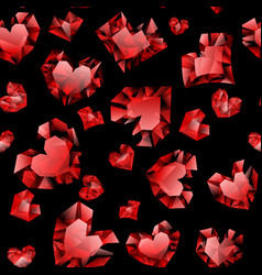 seamless pattern crystal hearts vector image
